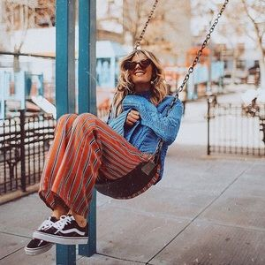 Zara Trafuluc Paperbag Tie waist striped pants